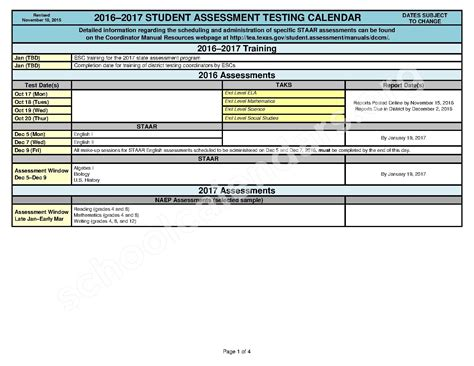 Calendã Tst 2017 2016 2017 State Testing Calendar Athens Elementary