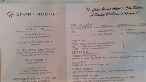 chart house ac birthday menu picture of chart house atlantic city tripadvisor