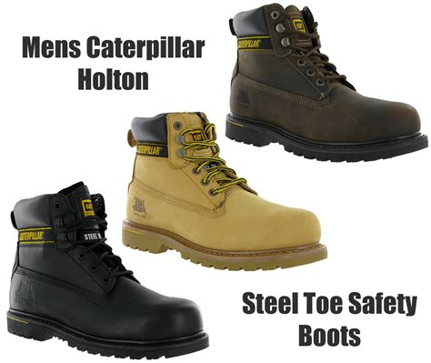 mens size 15 work boots mens cat caterpillar holton leather steel toe cap safety