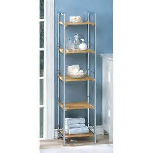 bathroom tower shelves osaka bamboo chrome curio shelf bathroom stoorage linen
