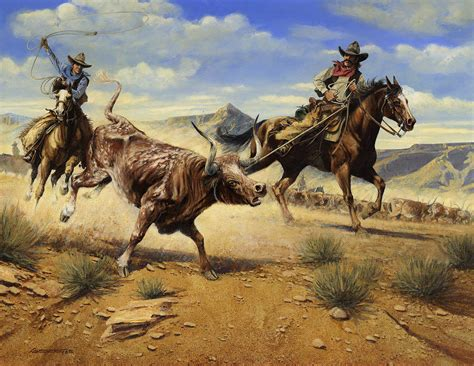 restraint  cowboys roping  steer painting  don