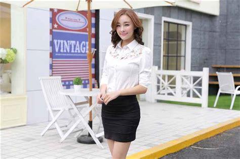Dress Kemeja Katun Jepang Putih Tangan Panjang Wanita kemeja kerja wanita import putih lengan panjang model