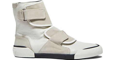 mens lanvin sneakers lanvin s high top velcro leather sneakers in grey in