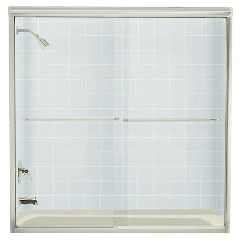 Sterling Frameless Shower Doors Sterling Finesse 59 5 8 In X 58 5 16 In Frameless Sliding Tub Door In Nickel With Handle 5405