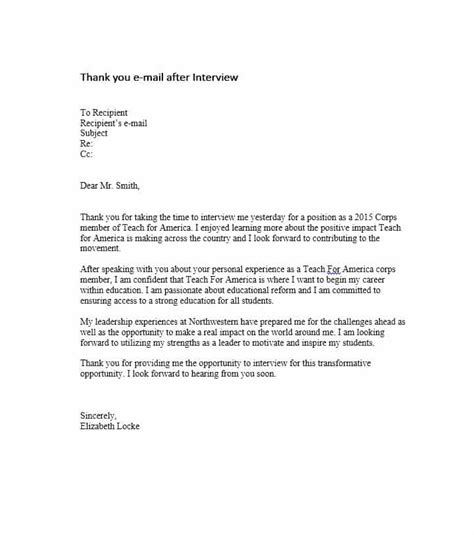 thank you letter to interviewer after is not offered 40 thank you email after templates template lab