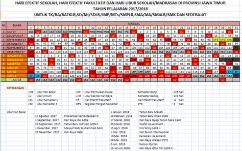Kalender Tahun 2018 Xls Kalender Pendidikan Provinsi Jawa Timur Tahun Pelajaran