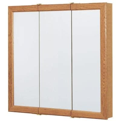 american classics medicine cabinet 36 in x 29 in surface mount mirrored medicine cabinet in oak