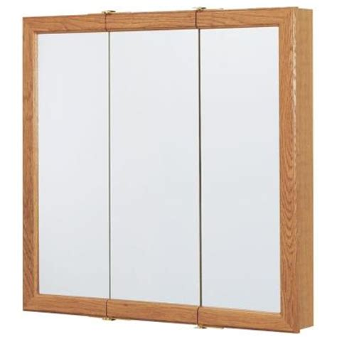 36 in x 29 in surface mount mirrored medicine cabinet in oak