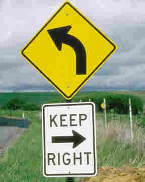 st on left or right street signs keep right left