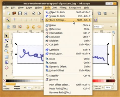 inkscape tutorial trace bitmap how to create a digital signature 183 martin thoma