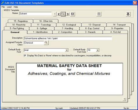 msds 16 section format regulator