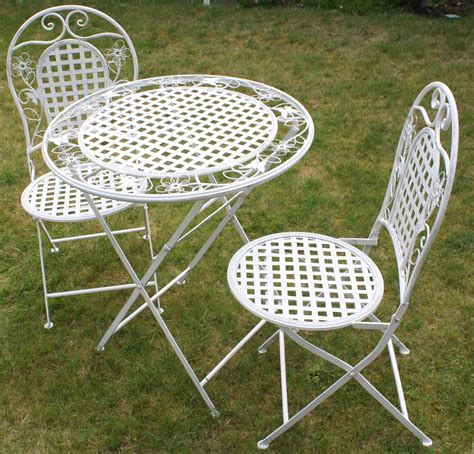 White Floral Outdoor Folding Metal Round Table And Chairs Metal Patio Table And Chairs
