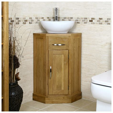 Oak Corner Vanity Unit by Solid Oak Corner Vanity Unit Basin Sink Tap Cloakroom