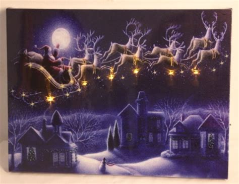 china led canvas art paintings with christmas design