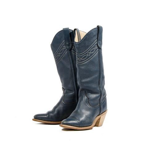 womens navy blue boots s wrangler cowboy boots navy blue stacked wood