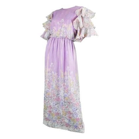 printed ruffle sleeve dress hanae mori 1980s purple and pastel floral printed ruffle