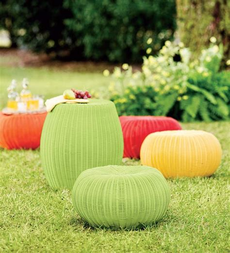 outdoor poufs and ottomans large outdoor wicker ottoman pouf collection accessories