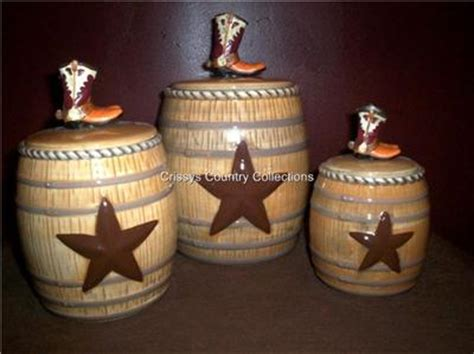 western kitchen canister sets rustic cowboy boots barrel western canister set new ebay