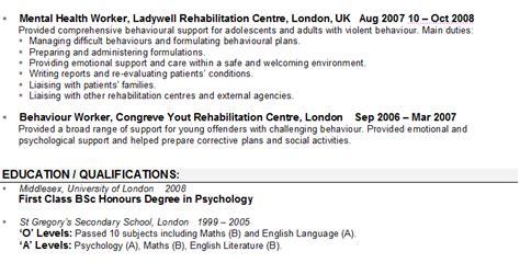 sle cv for psychologists