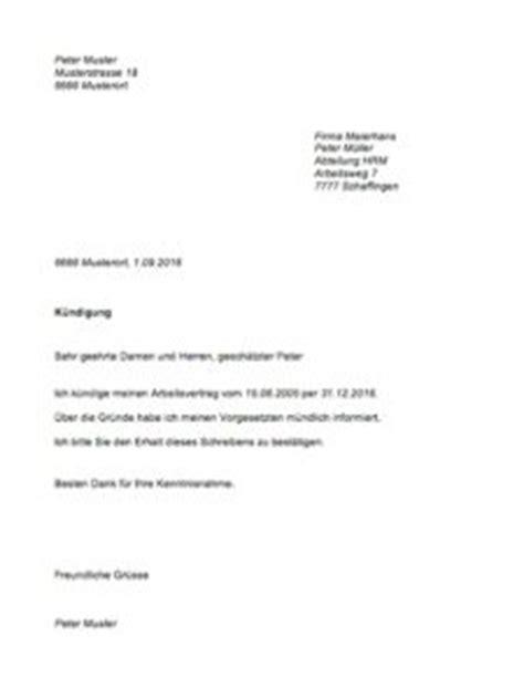 Absageschreiben Muster k 252 ndigungsschreiben muster muster vorlage ch