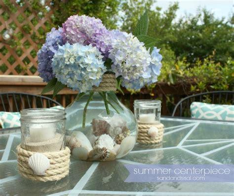 Simple Summer Centerpiece Blog Hop Sand And Sisal Summer Table Centerpieces