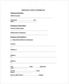 Emergency Contacts Template by Doc 585600 Emergency Contact Forms Emergency Contact