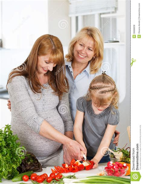 Happy In The Kitchen A Dinner A Signing by Three Generation Family Stock Photo Image 39088838
