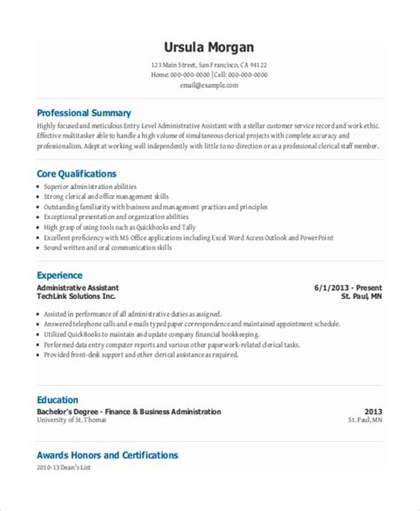 Resume Summary Examples For Administrative Assistants by 10 Entry Level Administrative Assistant Resume Templates