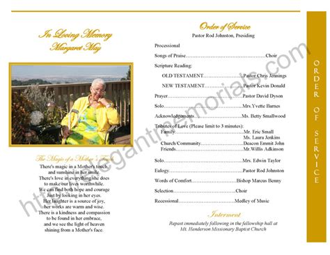 Graduated Fold Funeral Program Sample   Step Fold Funeral