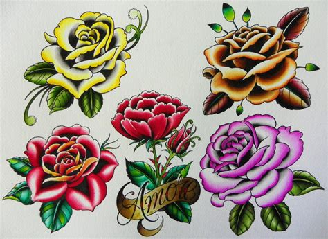tattoo flash flowers rose fatchrisworldwide