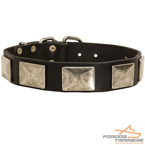 Handmade Leather Collars And Leashes - handmade leather collar with plates