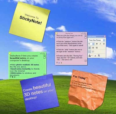 Computer Desktop Sticky Notes Free Shareware Category System Utilities Gt Registry Tools