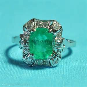 antiques atlas vintage emerald engagement ring