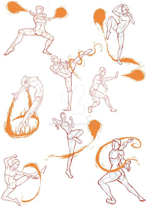 Drawing References Poses by Practice Sketches 4 Firebender Poses By R A V 3 N On