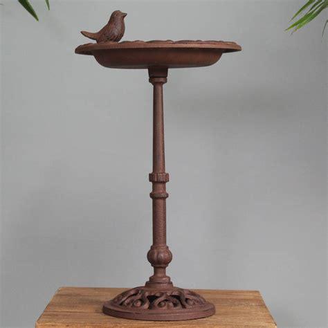 Pedestal Bird Feeders cast iron pedestal bird bath and feeder table by garden selections notonthehighstreet