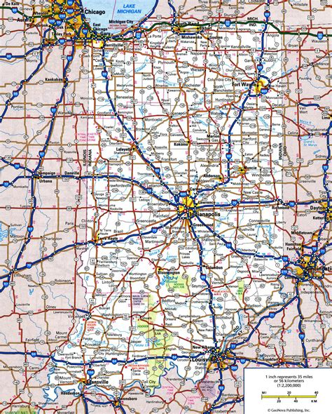 all cities in map large detailed roads and highways map of indiana state
