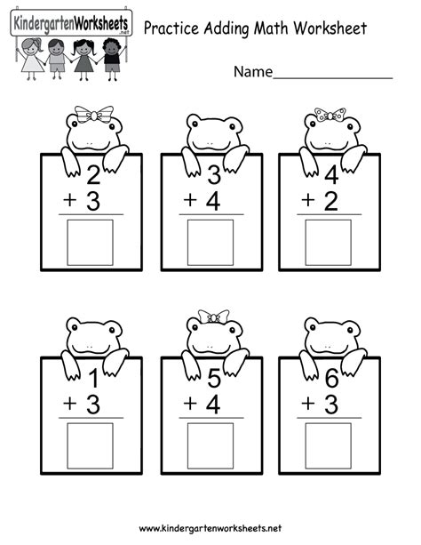 Printable Math Worksheets by Practice Adding Math Worksheet Free Kindergarten