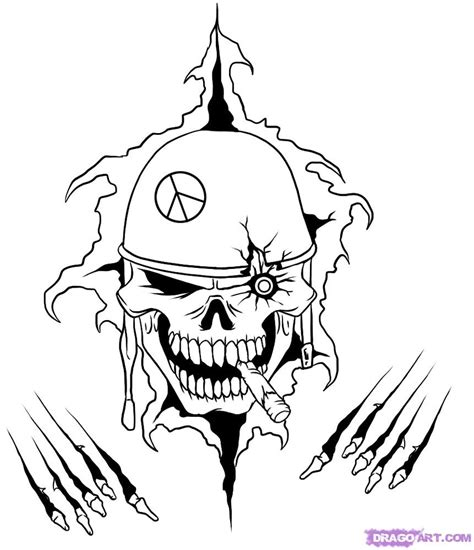 army skull coloring pages how to draw a war skull step by step skulls pop culture