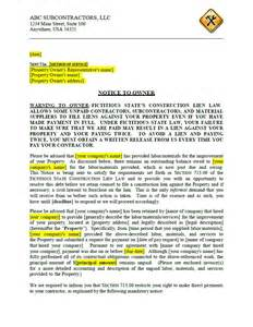 Sample Mechanics Lien Contract florida notice to owner kits and forms mechanics liens
