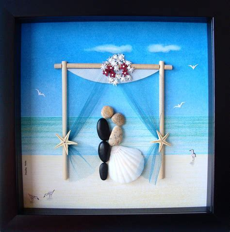 Wedding Gift Pebble Art  Couple's Pebble Art  Custom