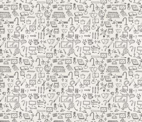 Stiker Pengiriman Shop Black Doodle school doodle wallpaper studiofibonacci spoonflower