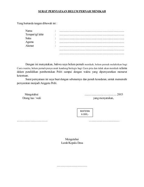 contoh surat pernyataan belum pernah punya anak berkas persyaratan brigadir 6666666