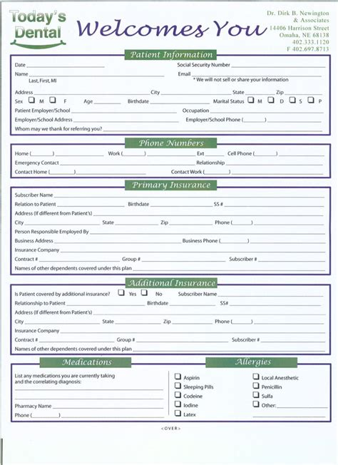 best photos of dental office forms printable printable