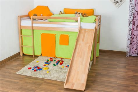 High Sleeper Bed With Slide by Children S Bed High Sleeper Jonas With Slide Solid