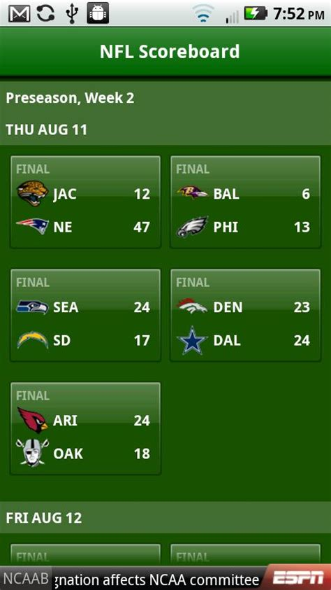 nfl app for android espn football app for android here for 2011 nfl season doesn t cost a dime