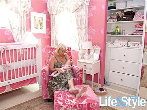 tori spelling bedroom stella mcdermott s bright pink nursery moms babies
