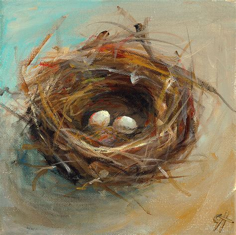 cari art two egg nest painting by cari humphry