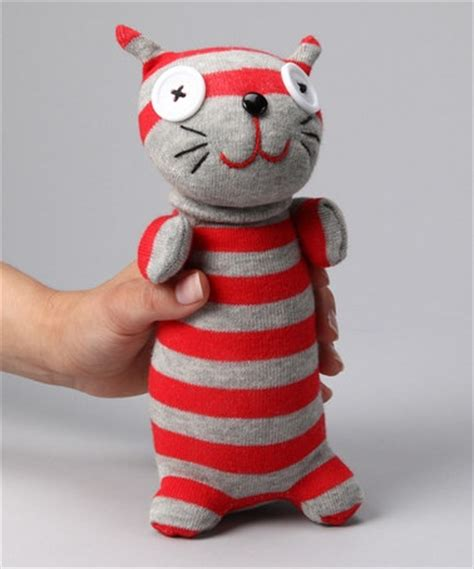 no3no4 stripe cat sock doll