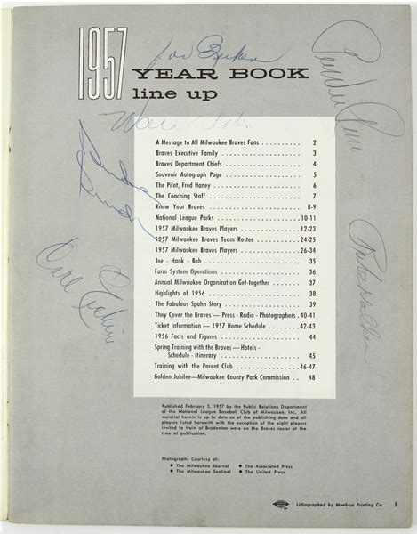 Request Letter For Yearbook Message lot detail 1957 milwaukee braves autographed yearbook