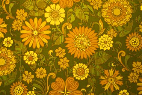 70s Floral by Sixties Seventies Era Floral Print Wallpaper Brian Eno